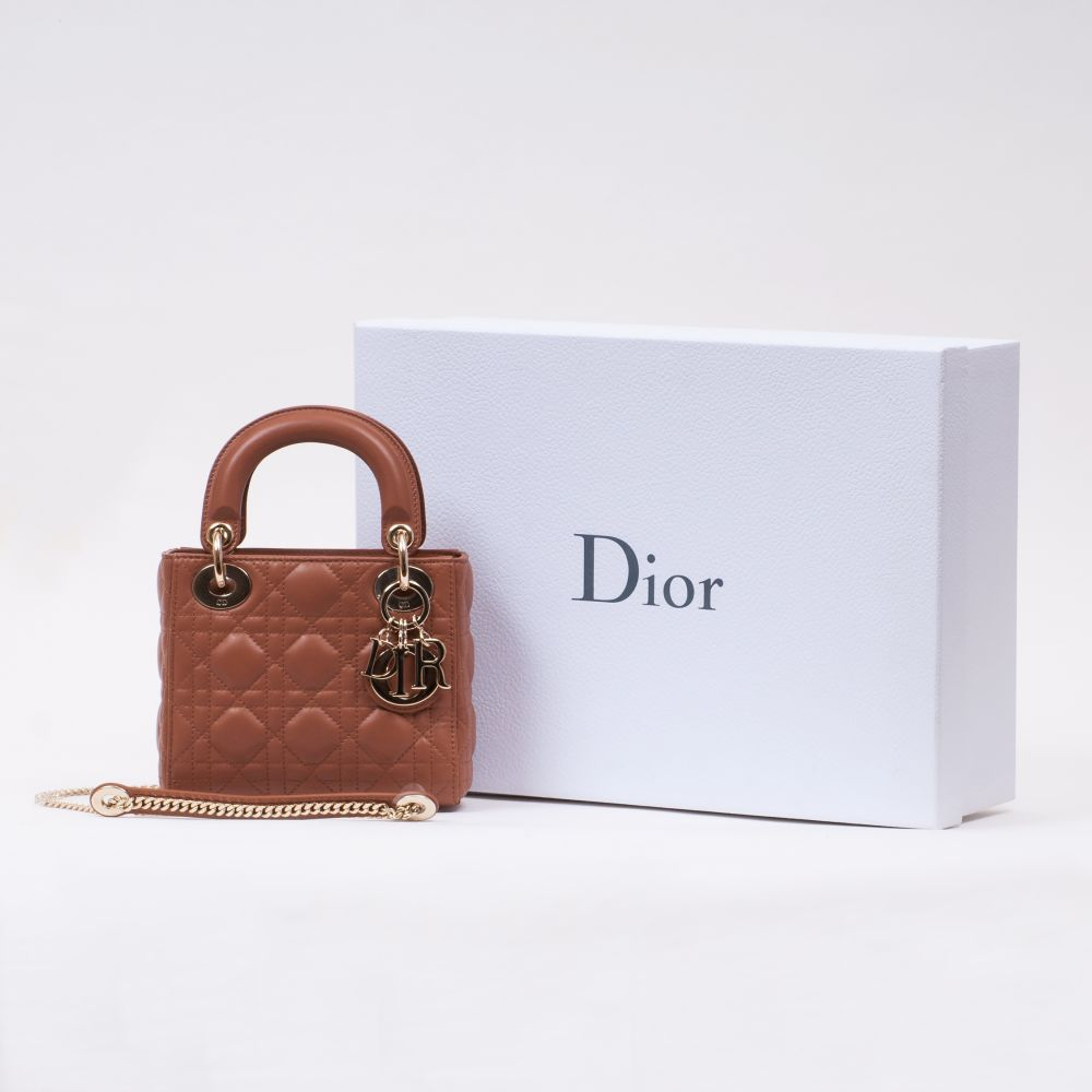 Christian Dior. Lady Dior Bag Braun. - Image 2 of 2