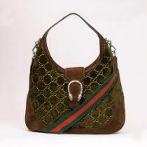 Gucci. Dionysus Velvet Hobo Bag Oliv.