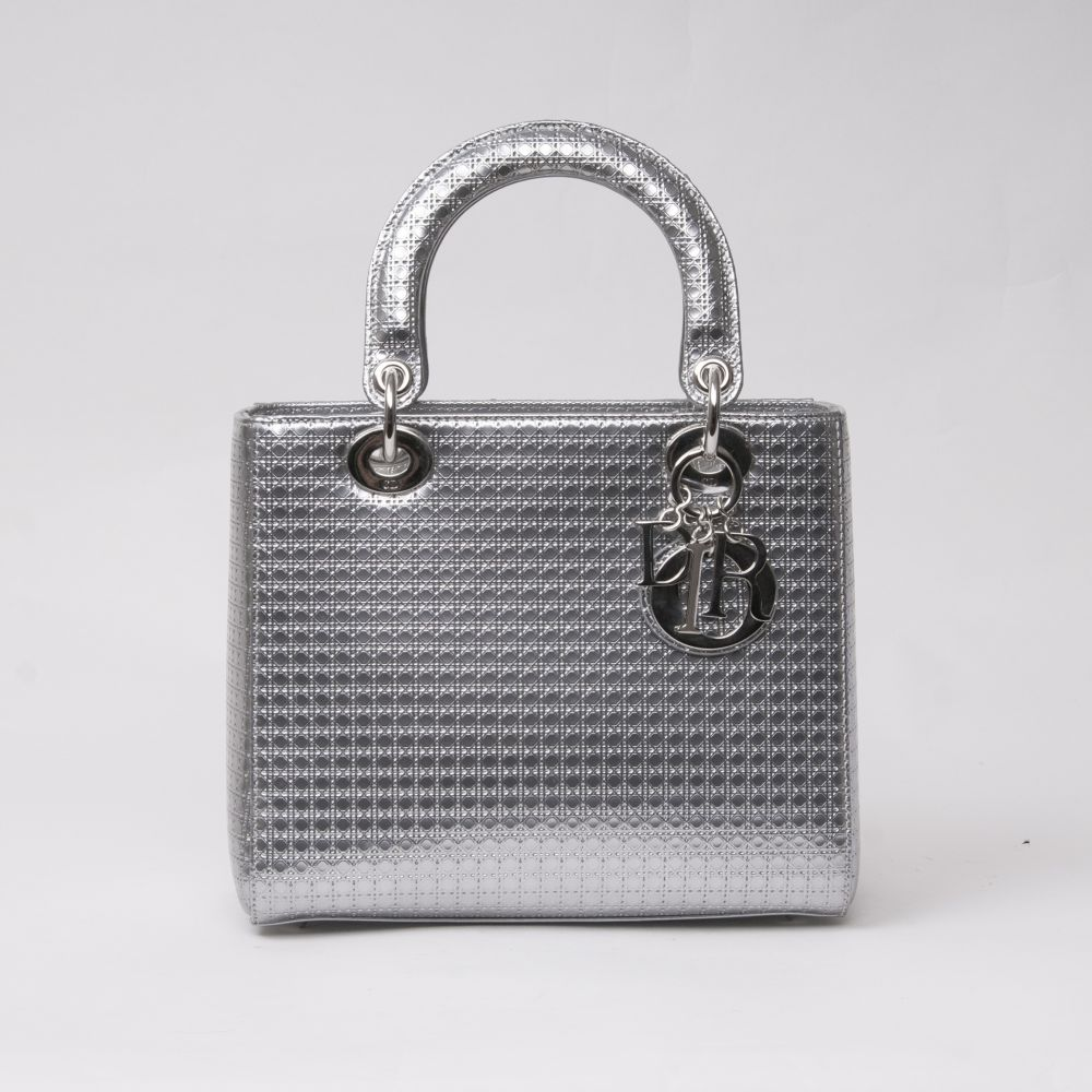 Christian Dior. Lady Dior Bag Silver Perforated.