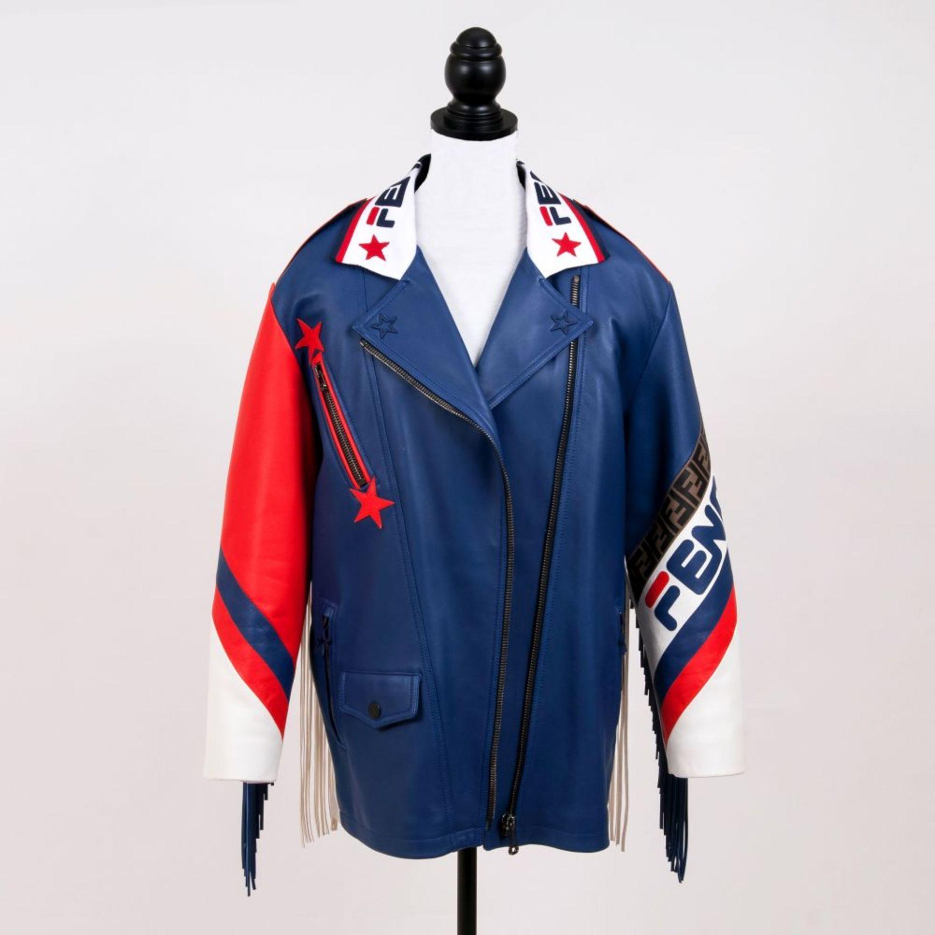 Fendi. Limitierte Blue Mania Logo-trimmed Biker Jacket in Kooperation Hey Reilly. - Image 2 of 2