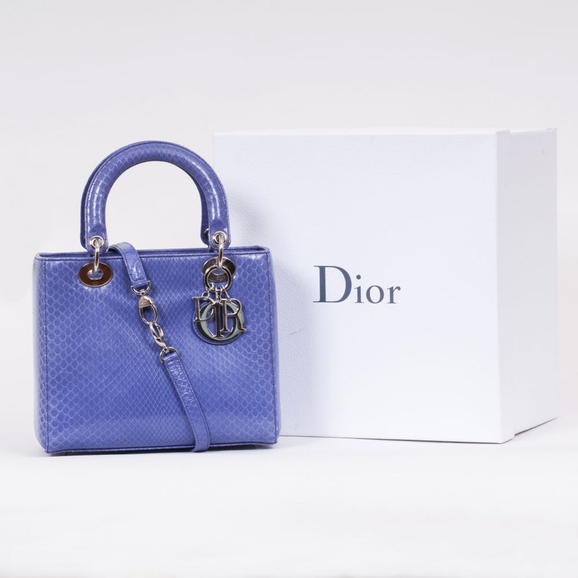 Christian Dior. Lady Dior Bag Python Blue. - Image 2 of 2