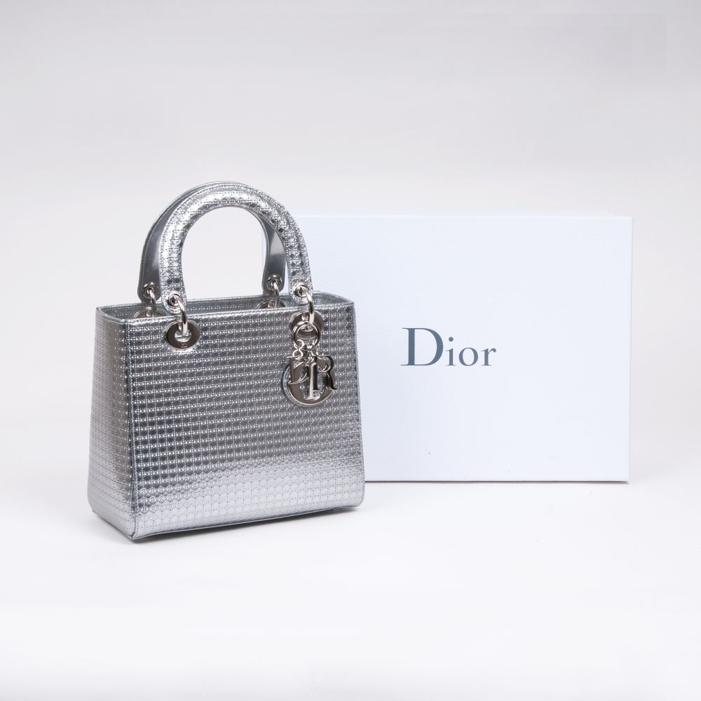 Christian Dior. Lady Dior Bag Silver Perforated. - Image 2 of 2