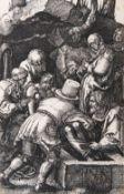 Albrecht Dürer (Nürnberg 1471 - Nürnberg 1528). Die Grablegung aus der Kupferstichpassion.