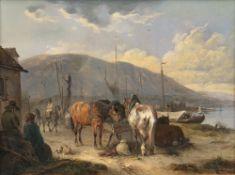 Wilhelm Melchior (Nymphenburg 1817 - München 1860). Pferde an der Raufe.