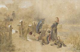 Johan Mari ten Kate (Den Haag 1831 - Driebergen 1910), auch Mari ten Kate. Die Schneeballschlacht.