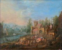 Adriaen Frans Boudewijns (Brüssel 1644 - Brüssel 1711), zugeschr. Reges Treiben am Fluss.