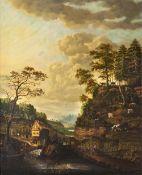 Johann Friedrich Seupel tätig 2. Hälfte 18. Jh. Landschaft mit Wassermühle.