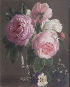 Francois-Antoine de Bruycker (Gent 1816 - Antwerpen 1882). Rosen im Glas.