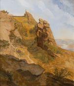 Eduard Wilhelm Pose (Düsseldorf 1812 - Frankfurt 1878). Burgruine über einem Flusstal.