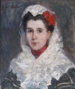 Gustave Henri Colin (Arras 1828 - Paris 1910). Junge Frau mit Mantilla.