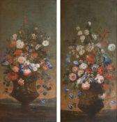 Deutscher Meister tätig 2. Hälfte 18. Jh. Paar Gegenstücke: Bouquets in Vasen.
