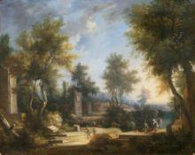 Jan Frans von Bloemen (Antwerpen 1662 - Rom 1749), in der Art des. Arkadische Landschaft mit Ruinen.