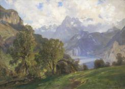 Ascan Lutteroth (Hamburg 1842 - Hamburg 1923). Gebirgssee.