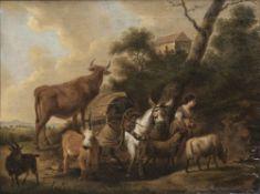 Adriaen van de Velde (Amsterdam 1636 - Amsterdam 1672), Umkreis. Hirtin mit Packtier und Herde.