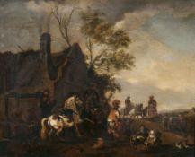 Philips Wouwerman (Haarlem 1619 - Haarlem 1668), in der Art des. Beim Hufschmied.