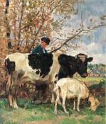 Julius Paul Junghanns (Wien 1876 - Düsseldorf 1958). Bauer mit Kuh und Ziege.