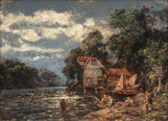Carl Oesterley jr. (Göttingen 1839 - Blankenese 1930). Fischer am Fluß.