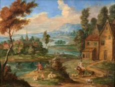 Pieter van Bredael (Antwerpen 1629 - Antwerpen 1719), zugeschr. Weite Landschaft mit Hirten am Fluss