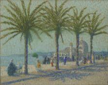 Julius Müller-Massdorf (Düsseldorf 1863 - München 1933). Uferpromenade unter Palmen.