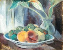Dorothea Maetzel-Johannsen (Lensahn 1886 - Hamburg 1930). Stilleben mit Blumen und Obst. Öl/