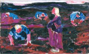 Willy Dammasch (Berlin 1887 - Worpswede 1983). Torfstecher im Moor. Öl/Lw., 41 x 62 cm, r. u.