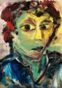 Willy Dammasch (Berlin 1887 - Worpswede 1983). Bildnis einer Portugiesin. Öl/Holz, 69 x 50 cm. - Das