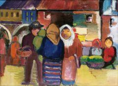 Franz Domscheit (Cropiens 1880 - Kapstadt 1965). Auf dem Markt. Öl/Lw., 47,5 x 61,5 cm, verso