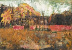Alfred Kollmar (Bietigheim 1886 - Worpswede 1937). Bauernhäuser im Herbst. Öl/Karton, 50 x 69,5