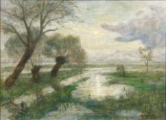Otto Modersohn (Soest 1865 - Fischerhude 1943). Mond - drei Weiden. Öl/Lw./Hartfaser, 50 x 69,5