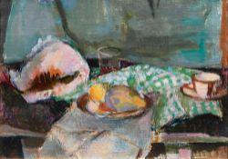 Gretchen Wohlwill (Hamburg 1878 - Hamburg 1962). Tafelstilleben. Öl/Lw., 50,5 x 66 cm, verso