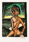 Emil Maetzel (Cuxhaven 1877 - Hamburg 1955). Sitzender Knabenakt. Kolorierter Holzschnitt, 26 x 18,5