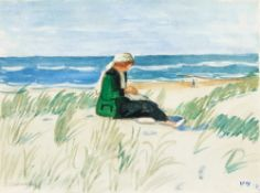 Otto Modersohn (Soest 1865 - Fischerhude 1943). Louise in den Dünen. Aquarell, 24,5 x 33,5 cm, l. u.