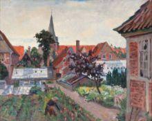 Gretchen Wohlwill (Hamburg 1878 - Hamburg 1962). Stadtgarten. Um 1910, Öl/Lw., 69,5 x 84 cm, r. u.