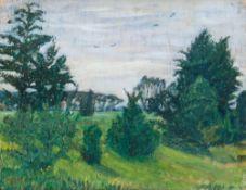 Otto Modersohn (Soest 1865 - Fischerhude 1943). Büsche am Wiesenrand. Öl/Holz, 28 x 37 cm, l. u.