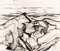 Max Kaus (Berlin 1891 - Berlin 1977). Dünen auf Sylt. Tuschzeichnung, 64,5 x 76 cm, l. u. sign.