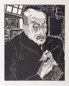 Conrad Felixmüller (Dresden 1897 - Berlin 1977). Liebermann. Holzschnitt, 50 x 39,5 cm, r. u. mit