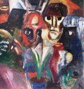 Alfred Kollmar (Bietigheim 1886 - Worpswede 1937). Masken. Um 1920, Öl/Karton, 73,5 x 70 cm, r. u.