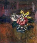 Alfred Kollmar (Bietigheim 1886 - Worpswede 1937). Kleiner Blumenstrauß. Öl/Karton, 36 x 30,5 cm, l.