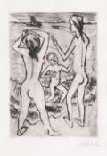 Hermann Max Pechstein (Zwickau 1881 - Berlin 1955). Am Strand. Kaltnadelradierung, 24 x 17 cm, r. u.