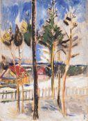 Alfred Kollmar (Bietigheim 1886 - Worpswede 1937). Winter in Worpswede. Öl/Karton, 67 x 50 cm, r. u.