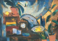 Dorothea Maetzel-Johannsen (Lensahn 1886 - Hamburg 1930). Gummibaum und Quitten II. Öl/Holz, 29 x 41
