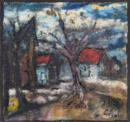 Ewald Platte (Untergarschagen 1894 - Opladen 1985). Landschaft am Dorfrand. Enkaustik und