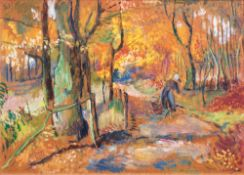 Lisel Oppel (Bremen 1897 - Worpswede 1960). Waldweg im Herbst. Um 1955, Öl/Hartfaser, 50 x 70 cm, r.