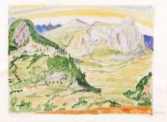 Erich Heckel (Döbeln 1883 - Radolfzell/Bodensee 1970). St. Paul-de-Vence. Aquarell, 30,5 x 42 cm, r.
