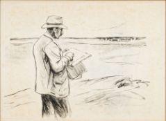 Max Liebermann (Berlin 1847 - Berlin 1935). Selbstbildnis, im Freien zeichnend. 1910,