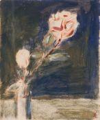 Alfred Kollmar (Bietigheim 1886 - Worpswede 1937). Vase mit zwei Rosen. Öl/Papier, 30,5 x 25,5 cm,