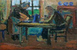 Walter Jacob (Altenburg 1893 - Hindelang 1964). Paar am Tisch. Öl/Lw., 27,5 x 36 cm, r. u. sign. und