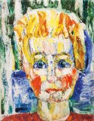 Willy Dammasch (Berlin 1887 - Worpswede 1983). Portrait Lore Licht. Öl/Lw./Karton, 51 x 40 cm, l. o.