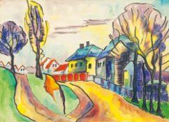 Karl Schmidt-Rottluff (Rottluff 1884 - Berlin 1976). Gelbe Straße am Dorfrand. 1940er Jahre,