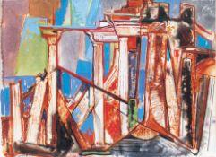 Max Kaus (Berlin 1891 - Berlin 1977). Ruinen. Gouache/Papier/Karton, 50,5 x 70 cm, r. u. sign. und